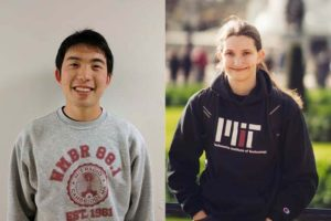 Bryce Hwang (left) and Hannah Diehl (right), smiling, wearing MIT sweatshirts.