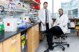 Two scientists in lab coats in a laboratory
