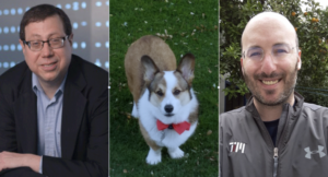 two men and a Corgi dog
